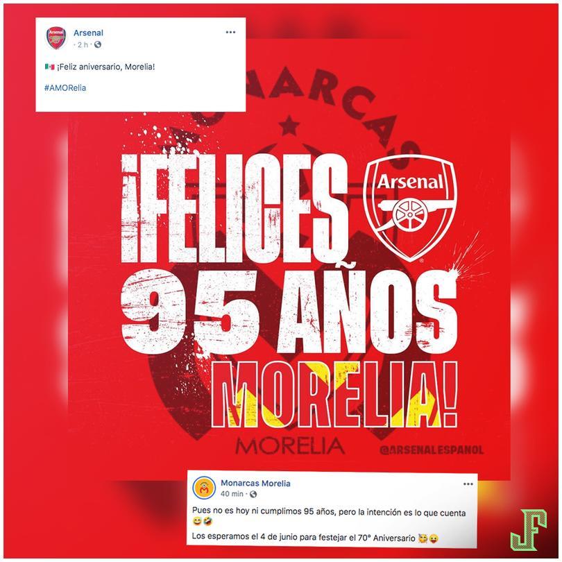 Arsenal felicitó al Monarcas por sus 95 años y el equipo mexicano aclaró que hoy no es su aniversario, ni cumpliría 95 años.