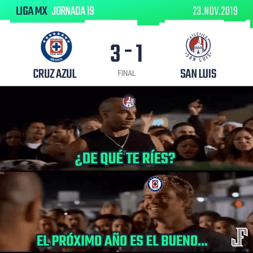 Cruz Azul cerró el año con una digna victoria contra el San Luis. Goles de Pablo Aguilar y doblete de Caraglio; por los potosinos anotó David Castro.