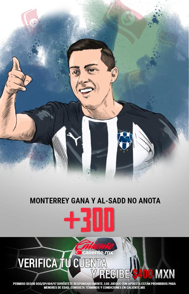 Si crees que Monterrey gana el partido y Al-Sadd no anota gol, apuesta en Caliente y llévate mucho dinero.