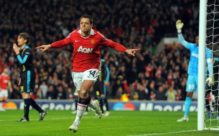 Hernandez celebra un gol conseguido en su primera Champions