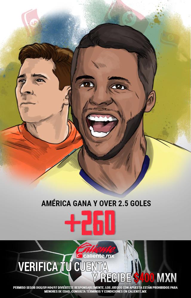 Si crees que América gana vs Tigres y el partido es Over 2.5 goles, apuesta en Caliente y llévate mucho dinero.