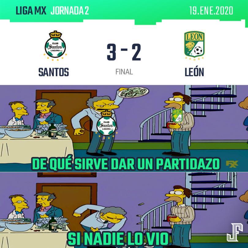 Minuto 10': Santos 0-1 León (J. Menesses) Minuto 48': Santos 1-1 León (B. Lozano) Minuto 56': Santos 2-1 León (D. Valdés) Minuto 86': Santos 2-2 León (A. Mena) Minuto 89': Santos 3-2 León (O. Rivero)