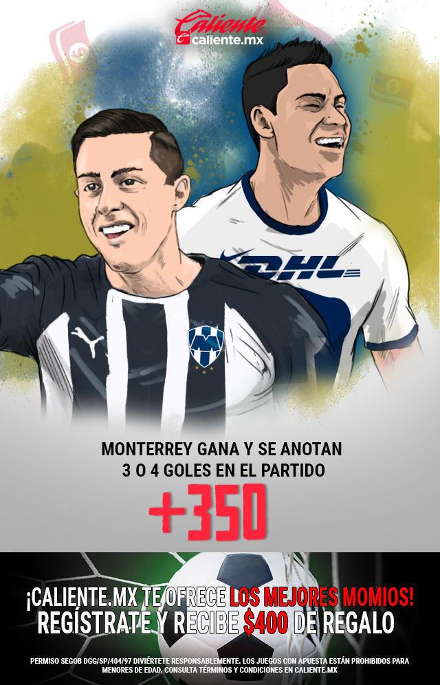 Si crees que Monterrey gana vs Pumas y hay 3 o 4 goles en el partido, apuesta en Caliente y llévate mucho dinero.