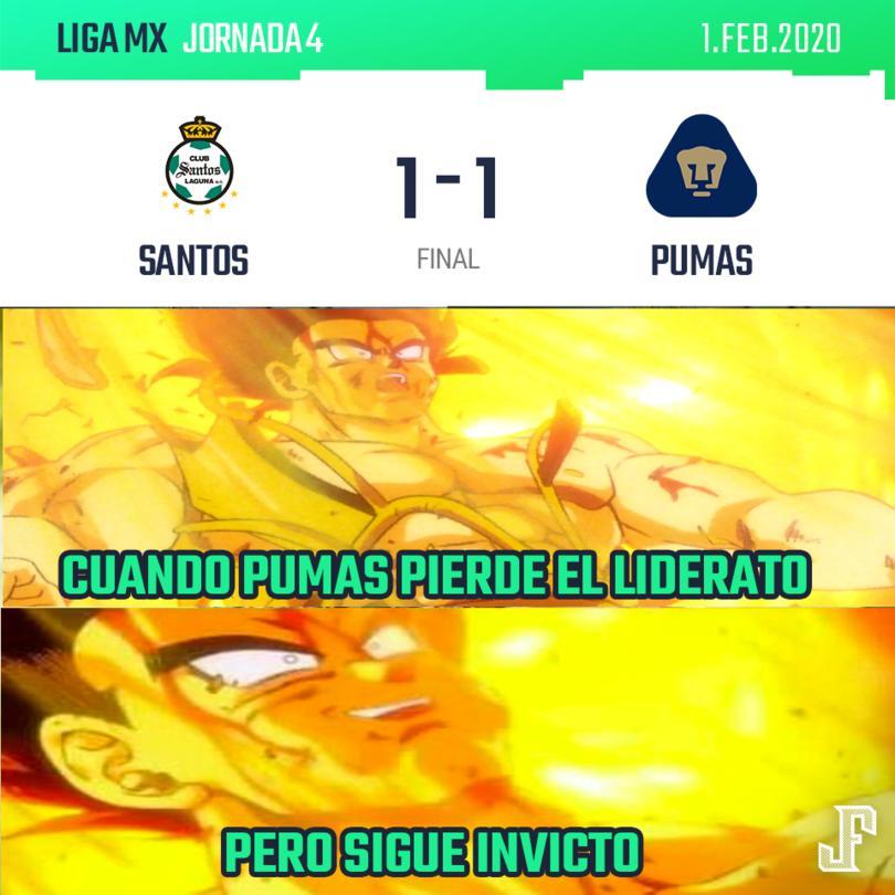 Goles de Furch por Santos y Johan Vázquez por Pumas.