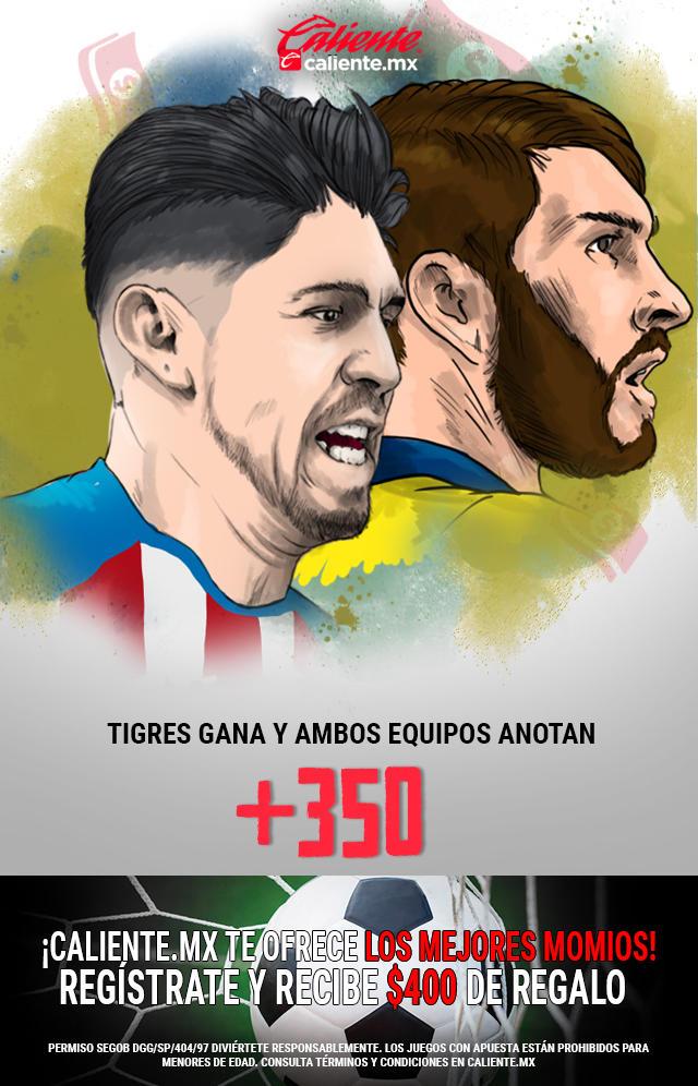 Si crees que Tigres gana vs Chivas y ambos equipos anotan, apuesta en Caliente y llévate mucho dinero.