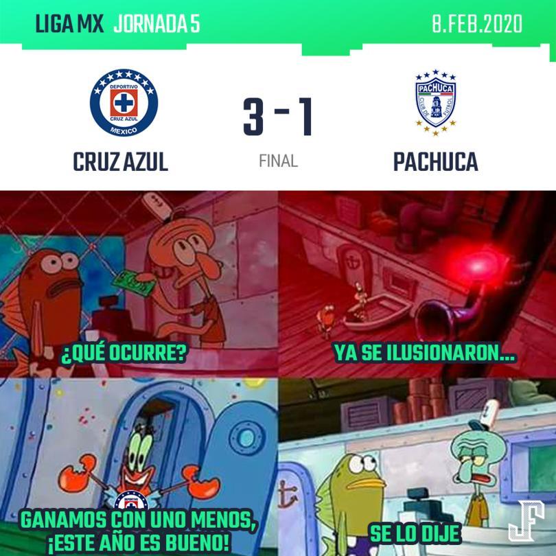 Con un jugador menos por la expulsión de Cepellini, Cruz Azul venció a Pachuca en el Estadio Azteca.  Goles de Santi Giménez, Cabecita Rodríguez y Juan Escobar; por Pachuca descontó Gerardo Chávez.