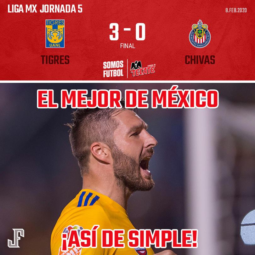 Con doblete de Gignac y uno de Enner Valencia, Tigres goleó a Chivas en Monterrey.