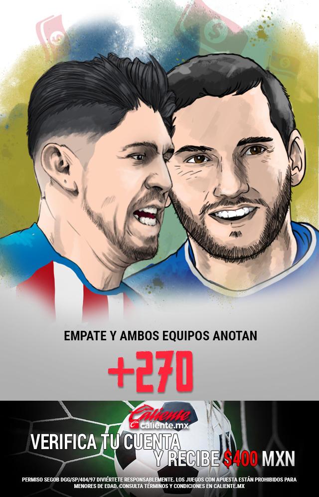 Si crees que el partido Chivas vs Cruz Azul, termina en empate y ambos equipos anotan, apuesta en Caliente y llévate mucho dinero.