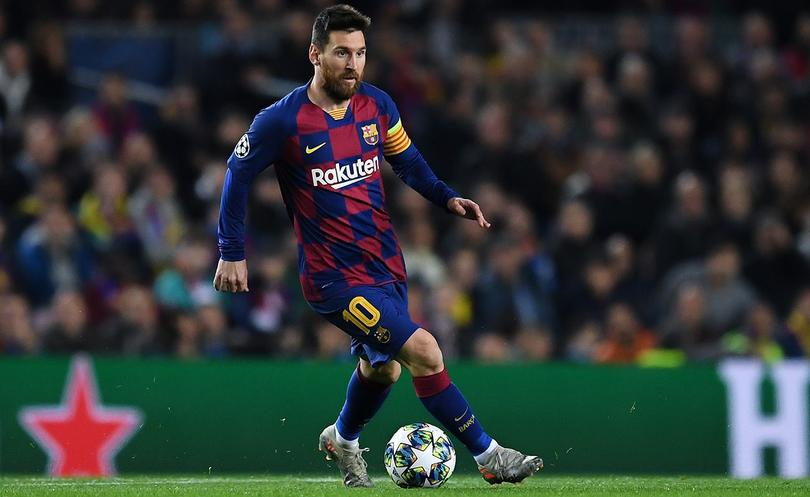Messi en partido de Chamions League