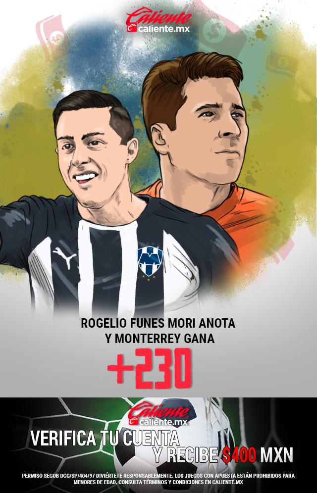 Si crees que Monterrey gana vs América y Funes Mori anota gol, apuesta en Caliente y llévate mucho dinero.