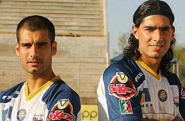 Pep Guardiola y Sebastián Abreu
