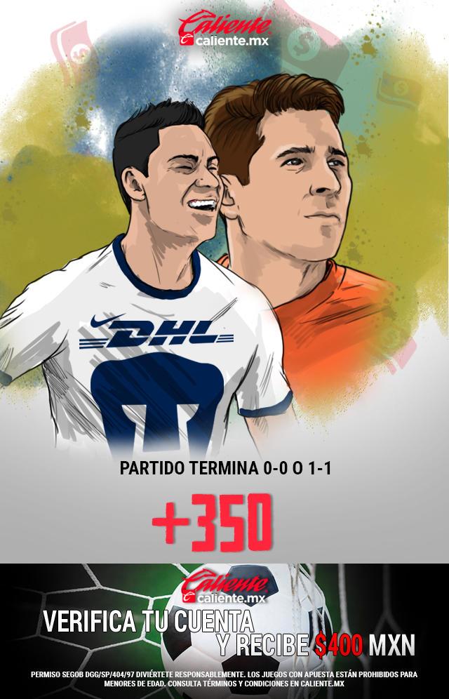 Si crees que el partido Pumas vs América, termina 0-0 o 1-1, apuesta en Caliente y llévate mucho dinero.