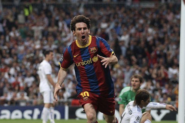 Messi en su doblete al Madrid en la Champions de 2011
