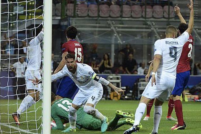 Ramos celebra su gol ante el Atlético en la final de 2016