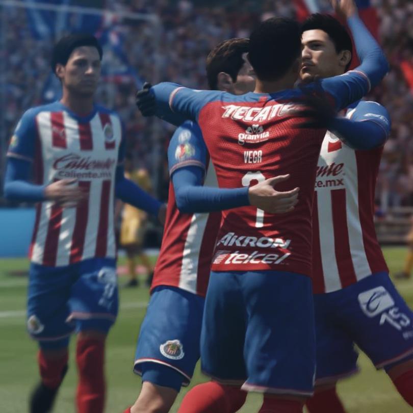 Jugadores de Chivas celebran un gol en Fifa20