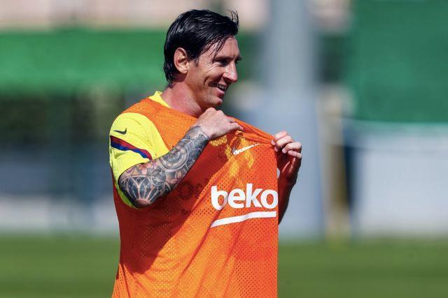 Lionel Messi en el entrenamiento del Barcelona