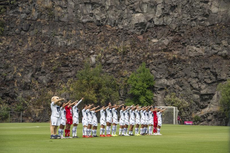 Pumas femenil durante un partido disputado en 'La cantera'