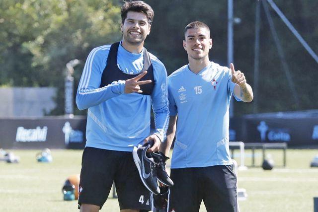 Néstor Araujo en el entrenamiento del Celta de Vigo