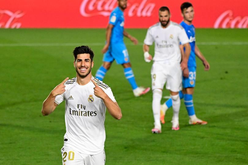 Asensio celebra su gol ante el Valencia