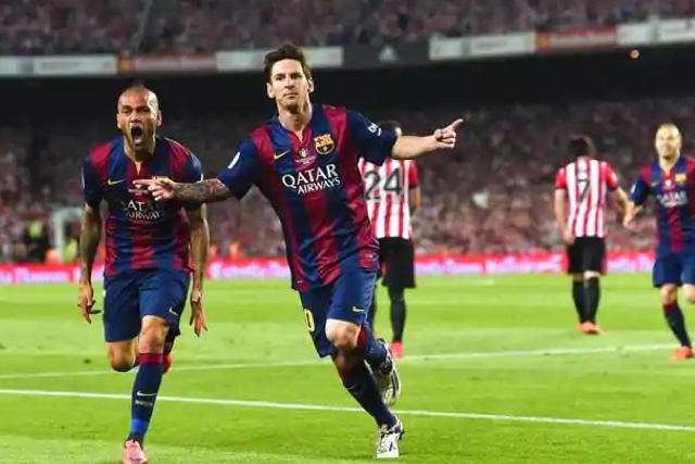 Lionel Messi celebrando su gol en la final de la Copa del Rey de 2015 ante el Athletic de Bilbao