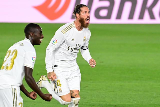 Sergio Ramos celebra su gol ante el Mallorca