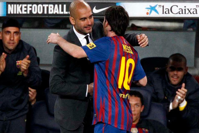 Pep Guardiola y Lionel Messi