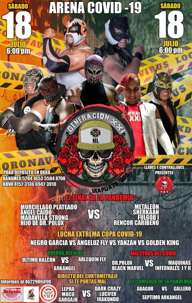 Cartel de la función de lucha libre en la Arena Covid-19