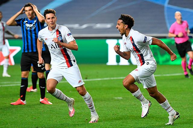 Marquinhos celebra su gol contra el Atalanta