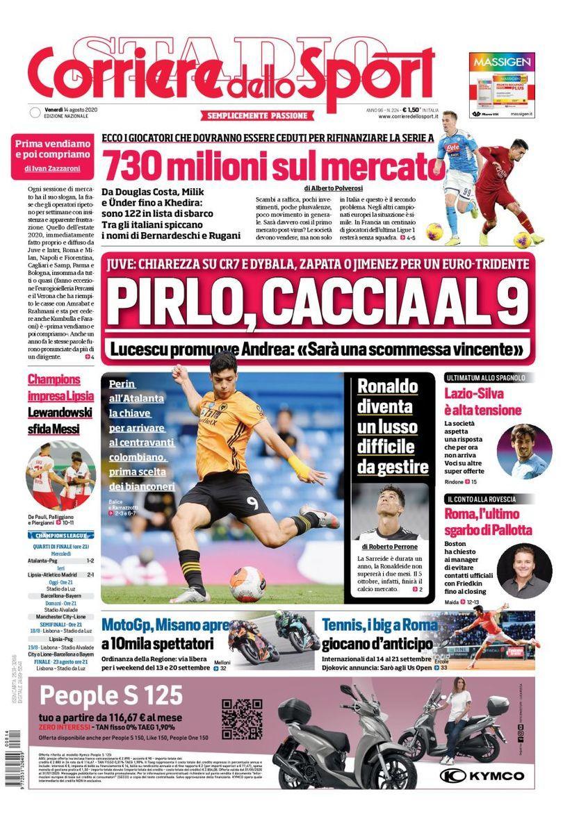 Raúl Jiménez se llevó la portada en Italia como uno de los candidatos de Pirlo para la Juventus