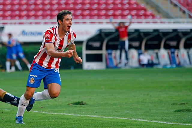 El Cone Brizuela celebra su gol ante San Luis