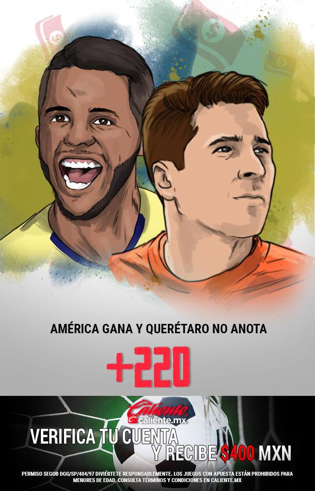 Si crees que América gana y Querétaro no anota gol, apuesta en Caliente y llévate mucho dinero.