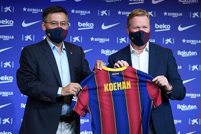 Ronald Koeman en su presentación como técnico del Barcelona