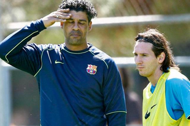 Frank Rijkaard y Lionel Messi