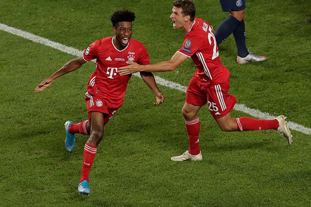 Kingsley Coman celebra su gol ante el PSG