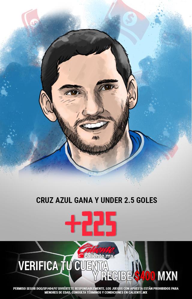 Si crees que Cruz Azul le gana al Necaxa y el partido es Under 2.5 goles, apuesta en Caliente y llévate mucho dinero.