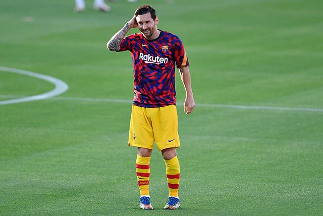 Lionel Messi en el primer partido de pretemporada del Barcelona