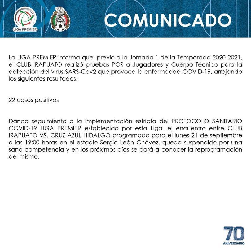 Irapuato reportó 22 contagios de coronavirus previo al juego contra Cruz Azul Hidalgo