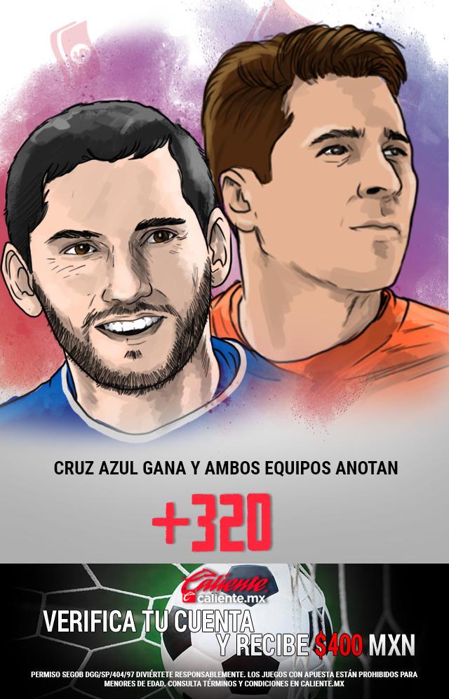 Si crees que Cruz Azul gana vs América y ambos equipos anotan, apuesta en Caliente y llévate mucho dinero.