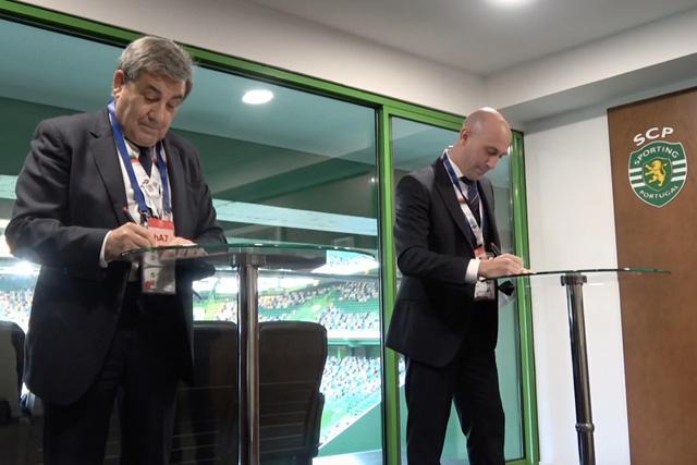 Luis Rubiales y Fernando Gomes