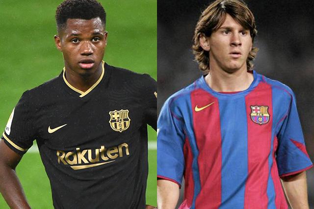 Ansu Fati y Lionel Messi