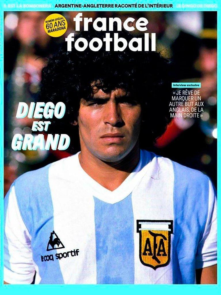 Diego Maradona en la portada de France Football