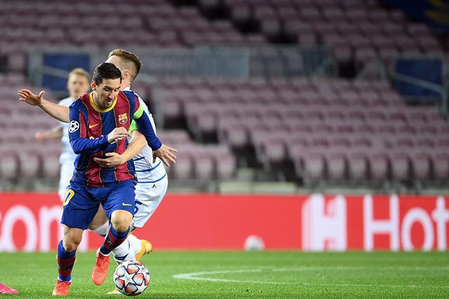Lionel Messi en el partido ante Dinamo Kiev