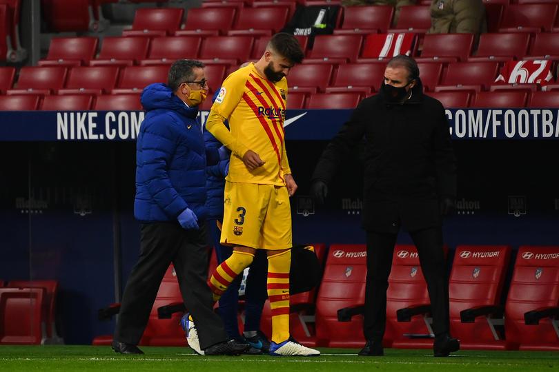 Gerard Piqué tras la lesión sufrida