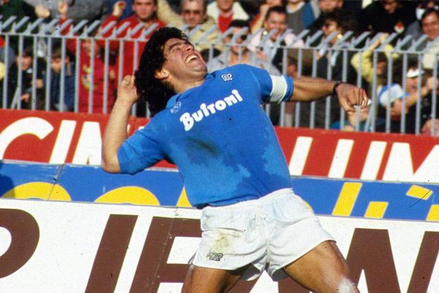 Diego Maradona en su etapa con el Napoli