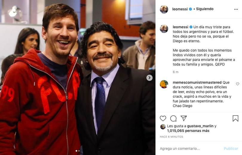 Mensaje de Lionel Messi para despedir a Maradona