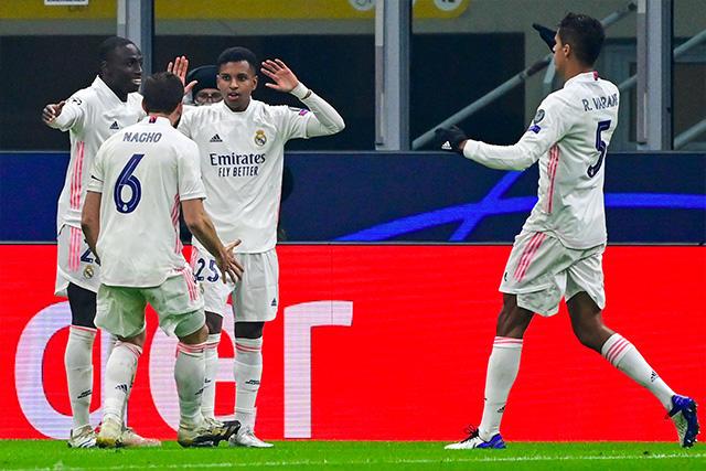 Rodrygo celebra su gol ante el Inter en la Champions