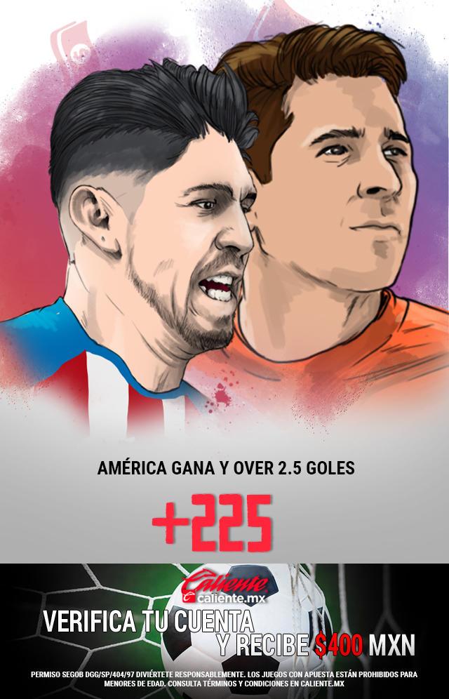 Si crees que América gana y el partido es Over de 2.5 Goles, apuesta en Caliente y llévate mucho dinero.