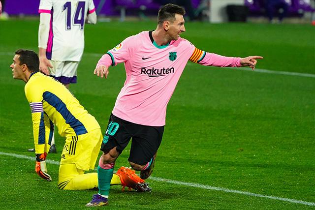 Lionel Messi metió el 3-0 del Barcelona sobre Valladolid