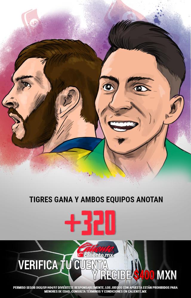 Si crees que Tigres gana vs León y ambos equipos anotan, apuesta en Caliente y llévate mucho dinero.