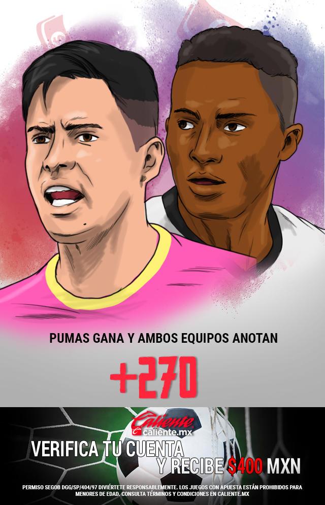 Si crees que Pumas gana vs Querétaro y ambos equipos anotan, apuesta en Caliente y llévate mucho dinero.